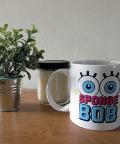 Coffee mug with Spongebob's eyes on it