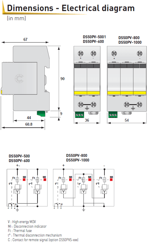 CITEL Surge Protection Type 2 Photovoltaic for 1000 V DC Surge Protector electrical diagram