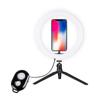 1a167 pc qftbs01 microphones accessories desktop selfie 10 ring light with tripod stand phone holder for photography live streaming
