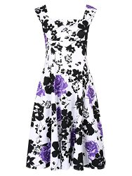 Clothink Women Vintage Floral High Waist Sleeveless Pleated Skater Dress