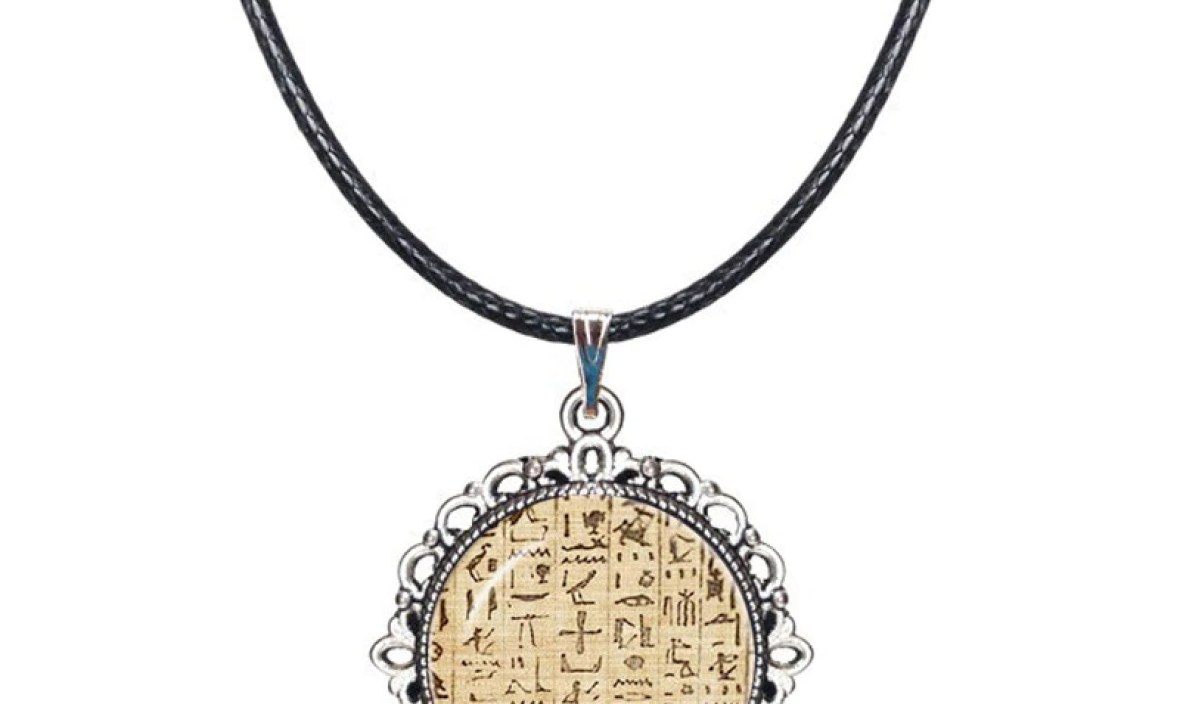 Ancient Egypt Necklace Egyptian Hieroglyphics Choker Muslim Paper Egypt Writing Picture Pendant Fashion Accessories Dome Jewelry