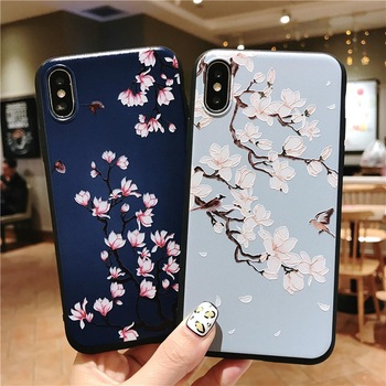 GSDUN 3D Orchid Patterned Phone Case For iphone X 8 7 6 6S Plus Cases Soft Silicone Cover For iphone 5 5s SE Coque Capa Funda