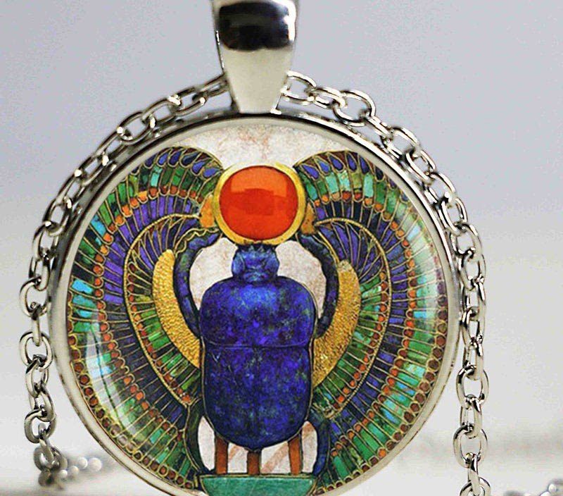 Wholesale Glass Dome Egyptian Scarab pendant, ancient egypt jewelry, Egypt necklace, Egyptian jewelry