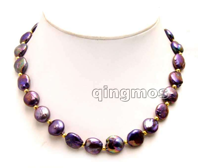 "SALE Big 12-13mm Black Coin Round Natural Freshwater Pearl 17"" Necklace-nec6166 whole sale and retail Free shipping"