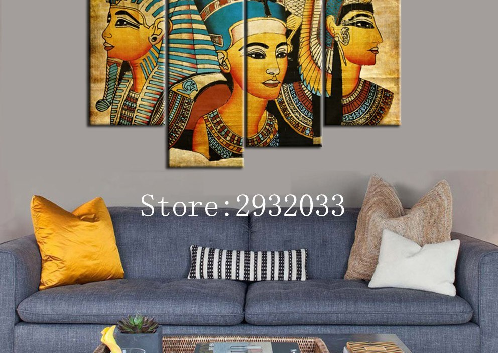 4pcsset Pharaoh Of Egypt Unframed Home Decoration Paintings Pharaoh Of Ancient Egypt Wall Art Picture Abstract Wall Painting