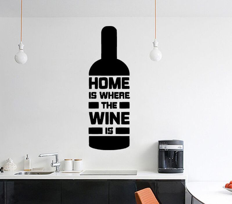 Home Decor Removable Wine Bottle Shape Wall Decal Quote Home Is Where The Wine Is Kitchen Art Mural Home Design Art Decal AY566