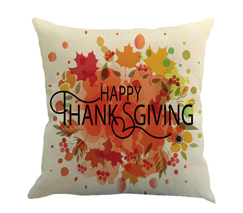 Home Pillow Throw Pillow Happy Thanksgiving Covers Linen Home Design Thanksgiving for Home Bedding Throw Pillow Case H1