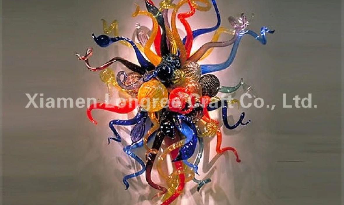Home Design Modern Art Decoration Blown Glass Shade Chihuly Style Decorative LED Wall Lamp with LED Bulbs