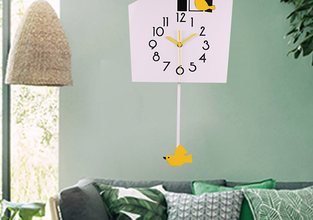 Hot sale Fashion wrought iron metal bird electronic wall clock home design decor for living room,Free shipping