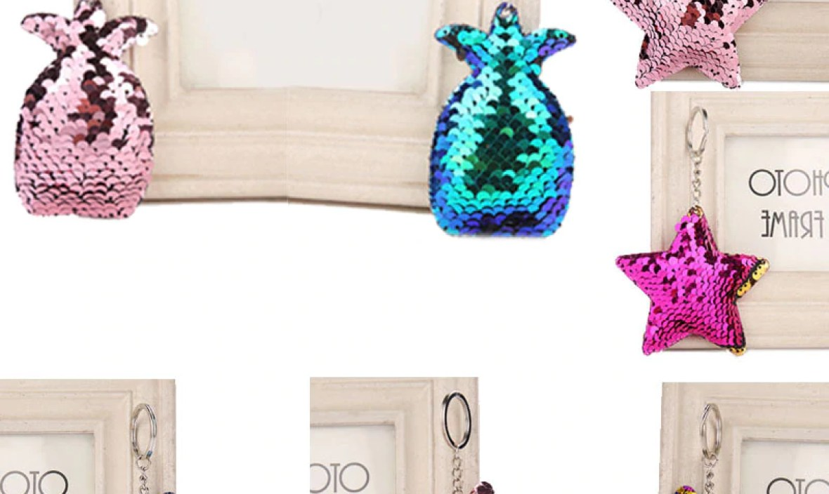 Sale Free Shipping Mermaid Cat Ananas Star Exquisite Cute Sequins Key Chain Unique Women And Girls Car Bag Accessories 1PC