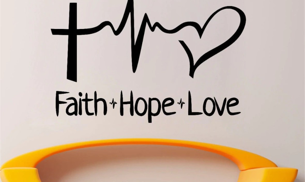 JOYRESIDE Faith Hope Love Sticker Decals Quote Vinyl Family Interior Kids Room Living Room Bedroom Home Design Art Mural A1356