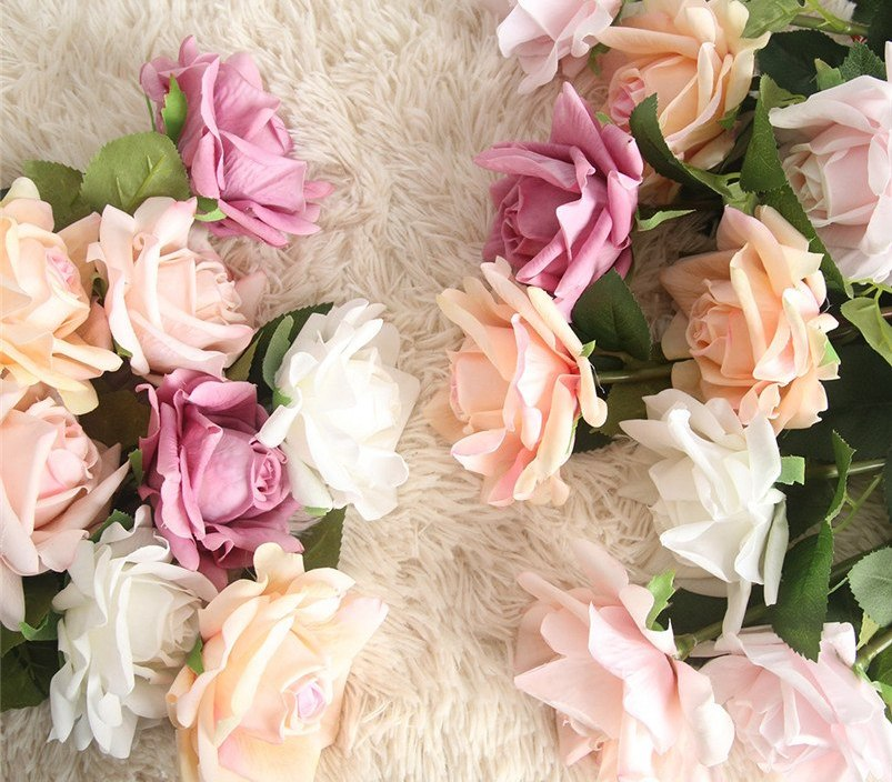 Flannel Touch Rose Flowers For Wedding Party Home Design Bouquet Decor Glue moisturizing feel rose artificial flower H06