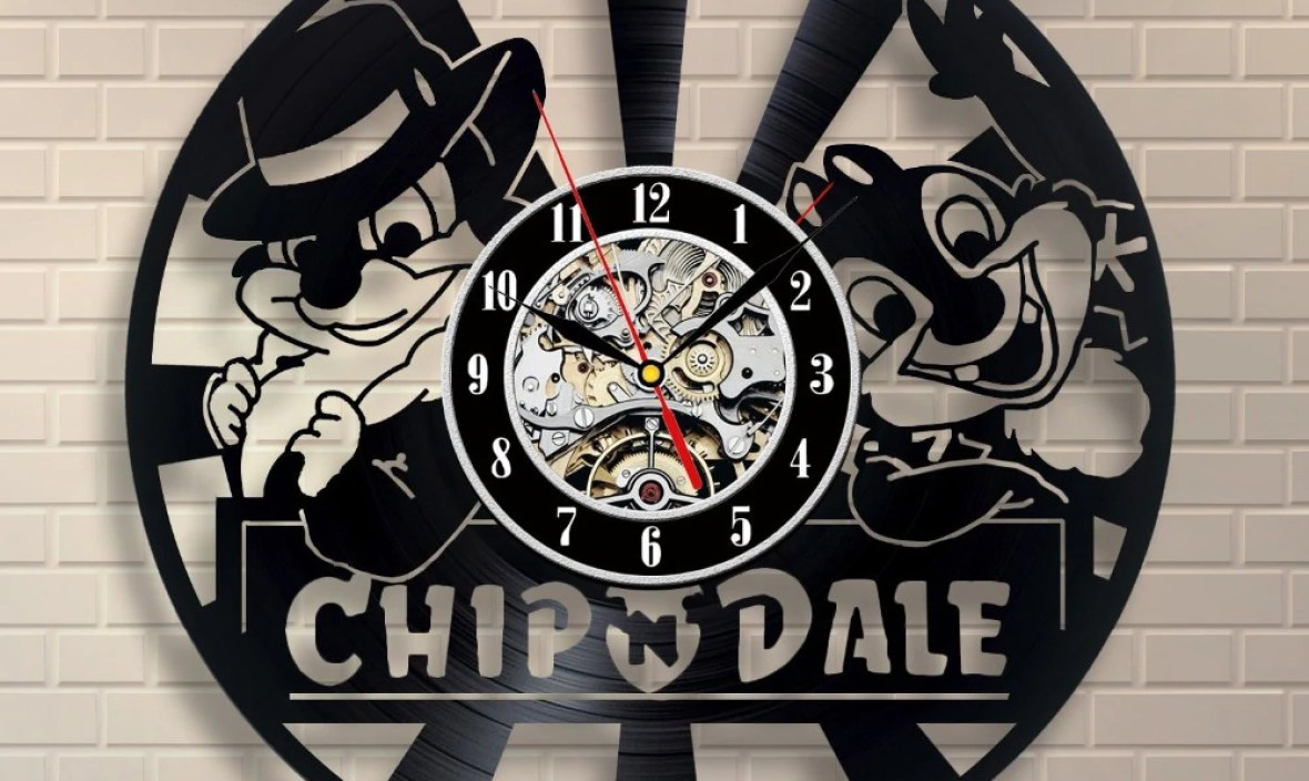 Chip and Dale Art Vinyl Record Clock Decor Home Design,saat,clock,reloj,large wall clock