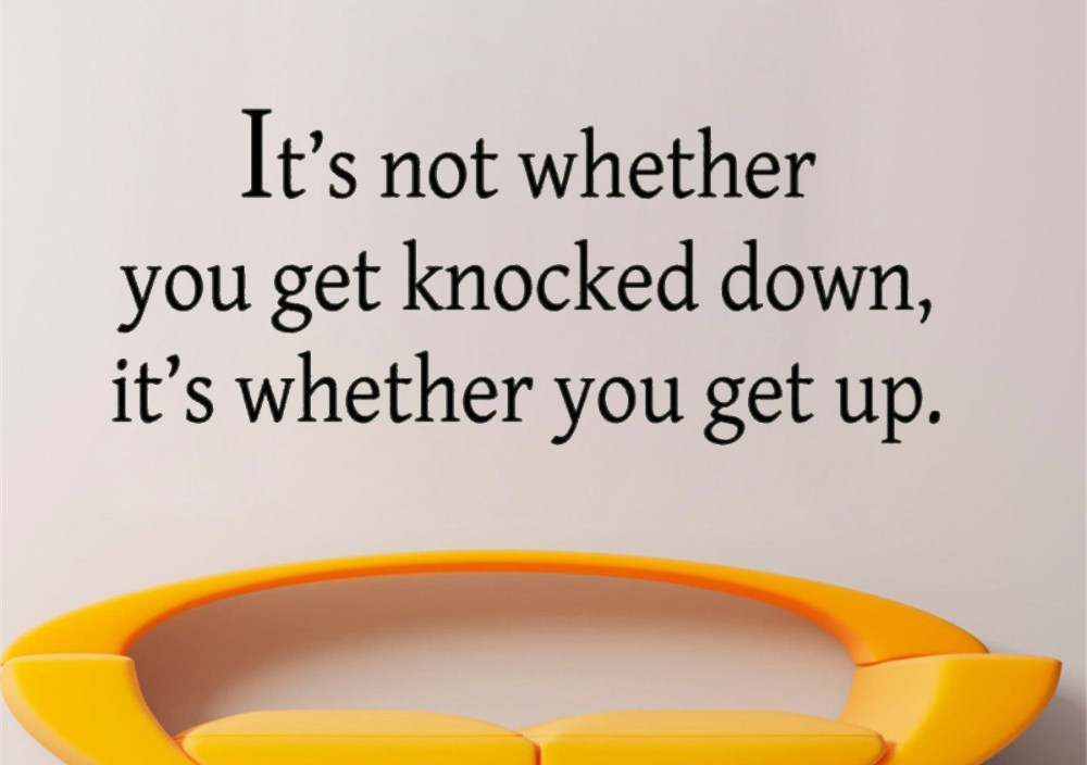 JOYRESIDE Sticker Decals It's Not Whether You Get Knocked Down Vinyl Quote Living Room Interior Bedroom Home Design Mural A1367