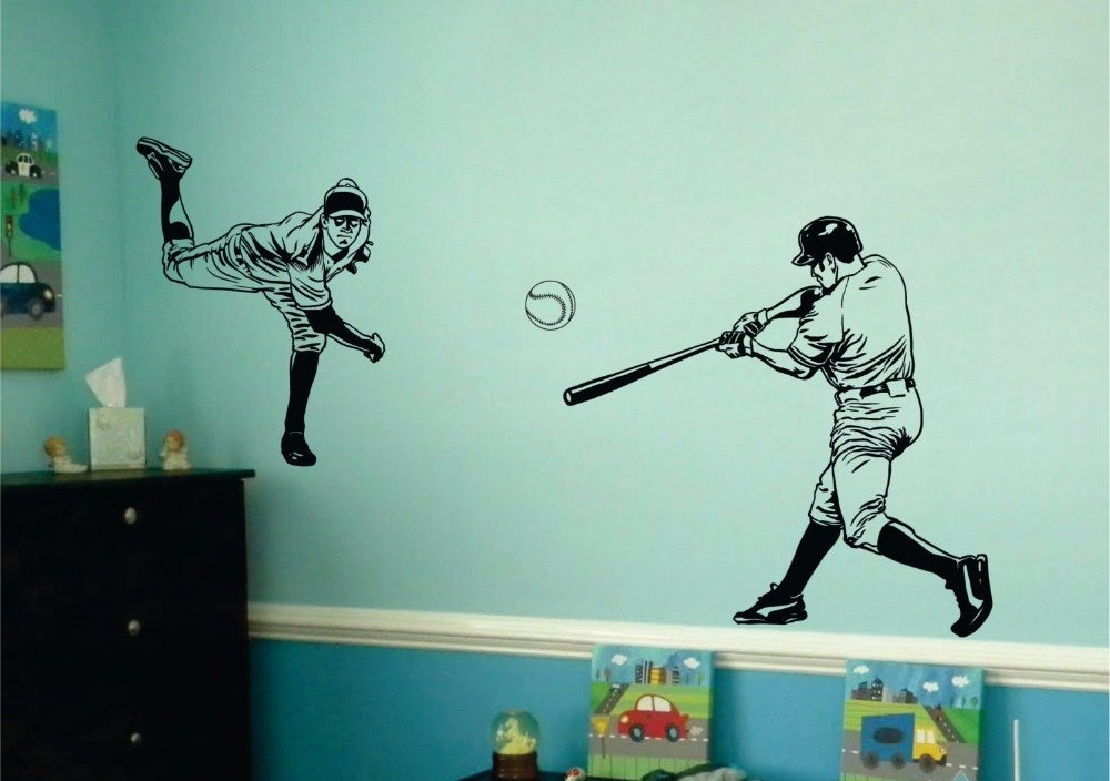 Big Size 2 Baseball Players Decal Vinyl Wall Sticker For Kids Boys Rooms Sports Wall Decal Decor Bedroom Home Design Art A406