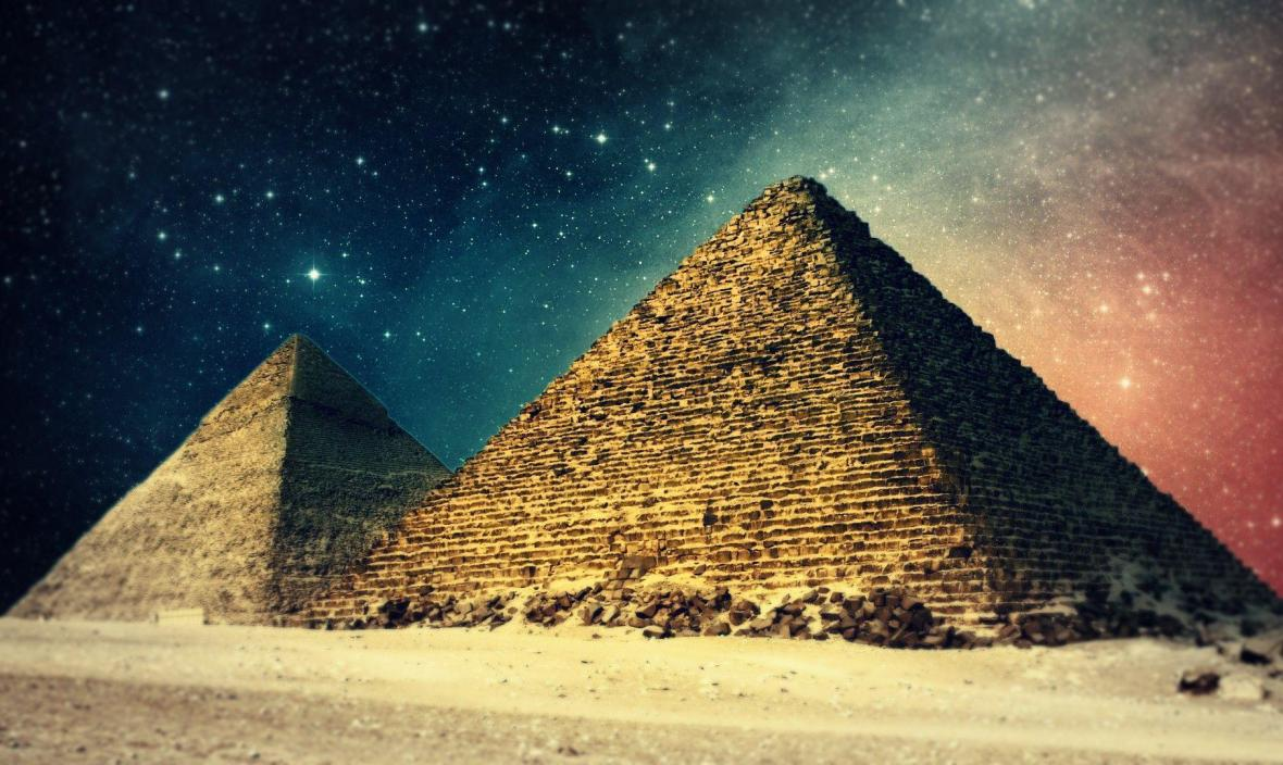 ancient egypt pyramid star galaxy space photography studio background High quality Computer print wall backdrops