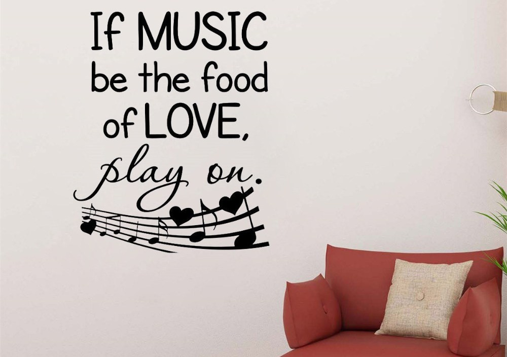 JOYRESIDE Quotes Wall If Music Be The Food Of Love Play On Decals Vinyl Sticker Living Room Bedroom Home Designs Art Mural A1464