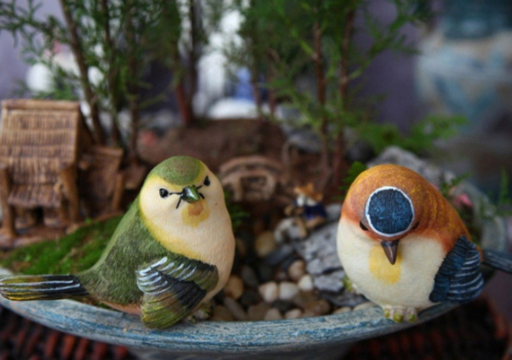 Garden decorative birds cute home design animals Artificial resin birds toy garden ornaments songbird home accents mini figurine
