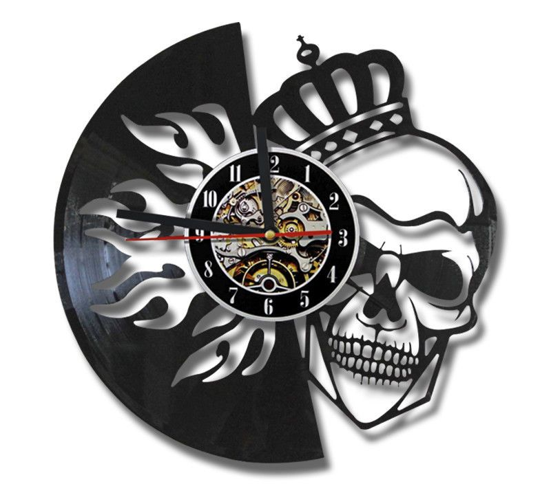 Skull Wall Clock Modern Design for Living Room Vintage Style Creative Crown Vinyl Clocks Wall Watches Home Decor Silent