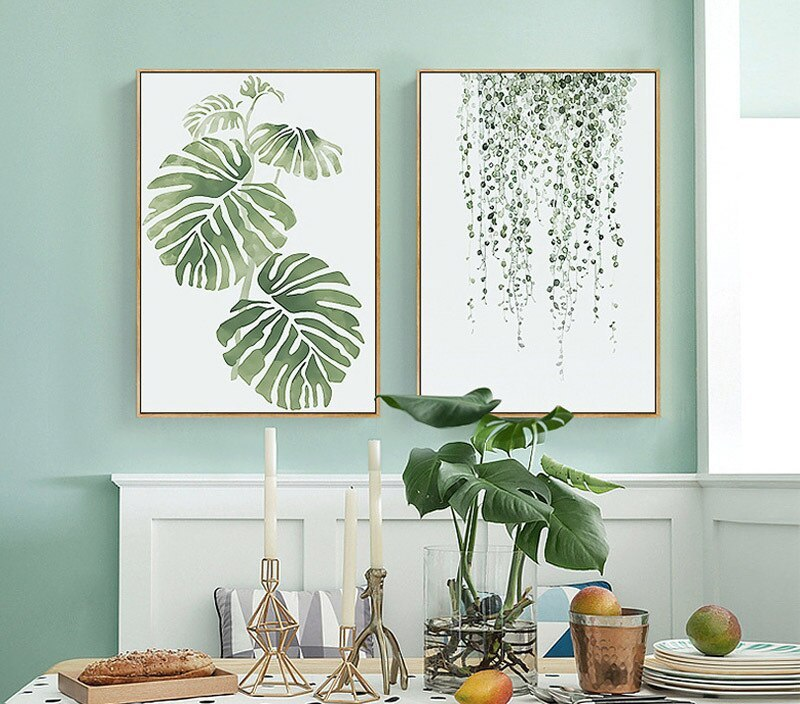 Green Leaf Modern Canvas Painting Art Print Poster Oil Wall Pictures Home Decor Living Room Decoration Design