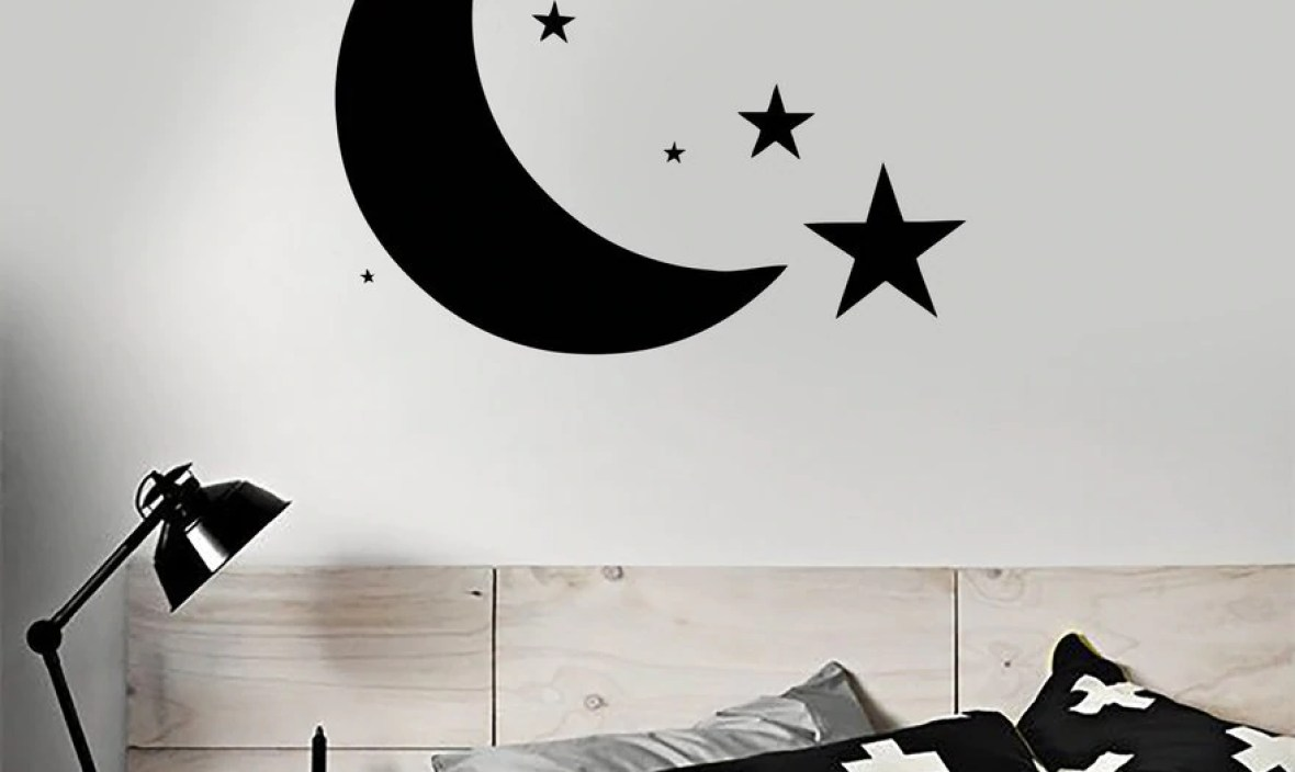 Bedroom Moon Stars Sky Wall Decal Home Design for Baby Kids Room Wall Stickers Lovely Bedroom Decor Wall Tattoo Mural  SA169