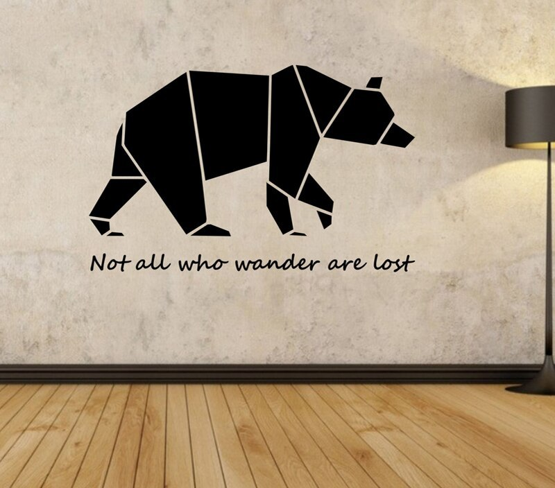 Origami Bear Wall Decal Wall Stickers Quotes for Bedroom Living Room Home Design Decor Murals Geometric Wall Art Vinyl A385