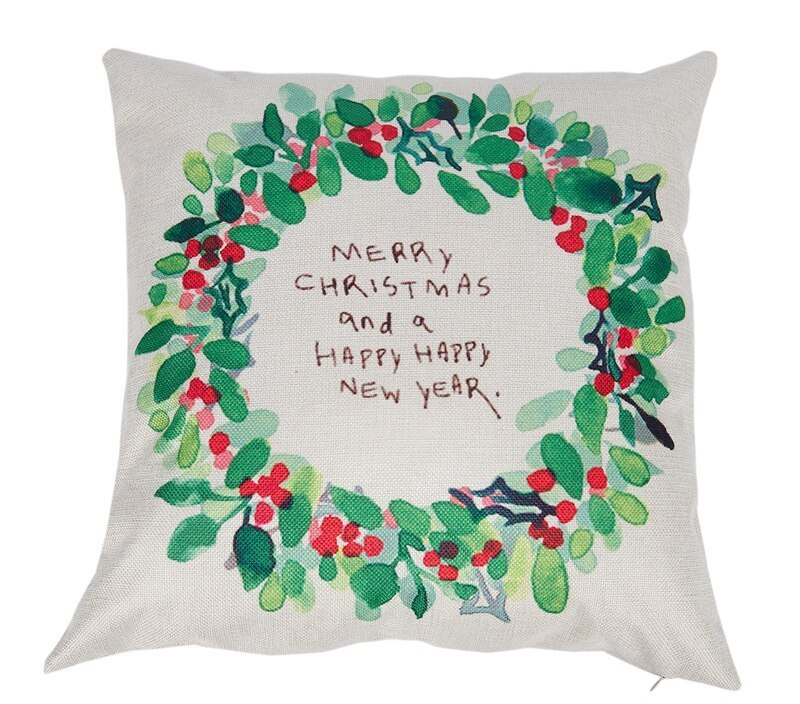 Merry Christmas Pillow Case Leaf Xmas 18 X 18inch Merry Chritmas Home Design Throw Pillow Pillow Cas