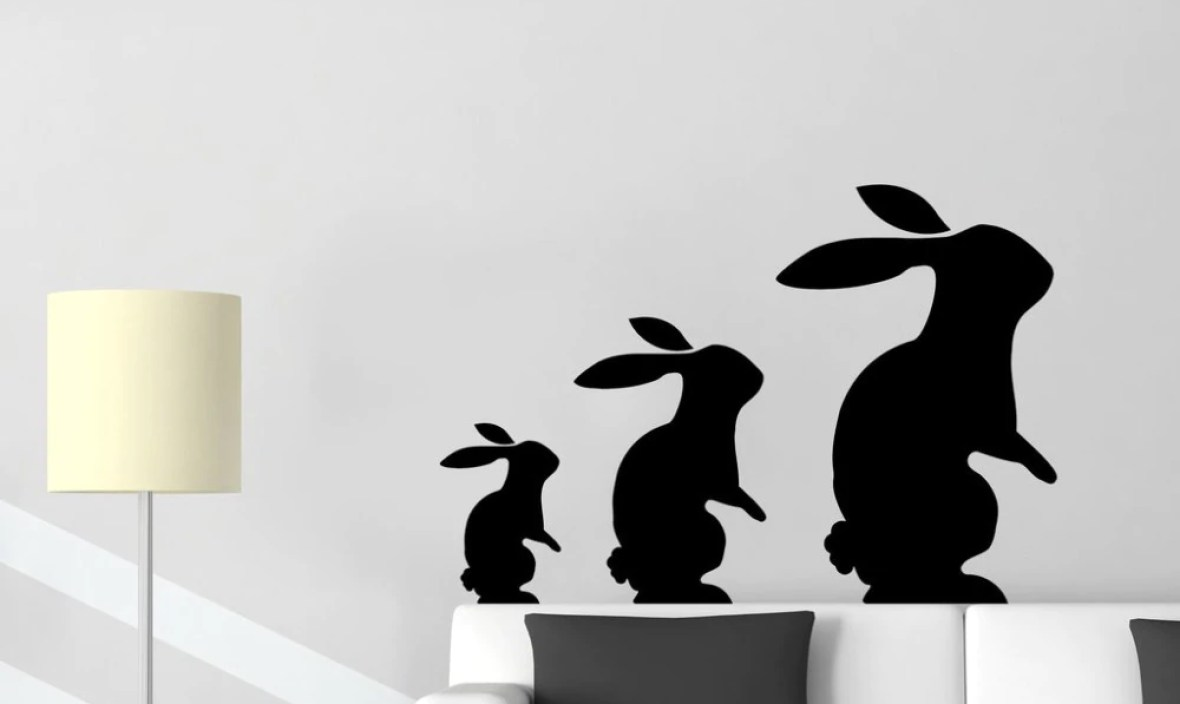 Rabbits Hares Toys Vinyl Wall Stickers Animals Play Friendship Wall Sticker Home Design Wall Decal Decor Kids Room  SA243