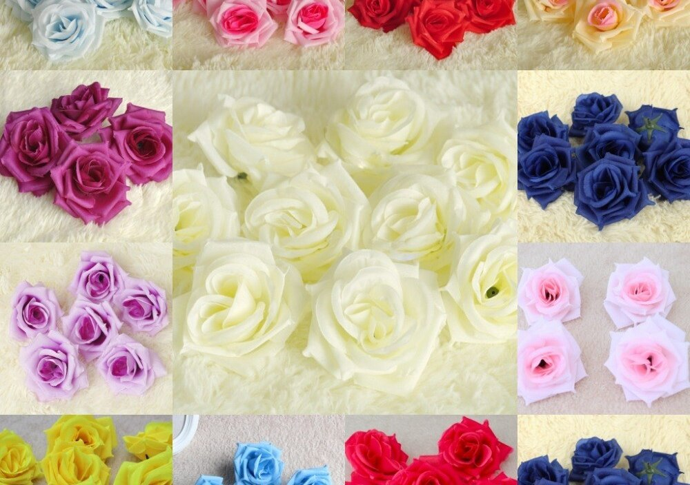 100PCS Wholesale 8.5cm Artificial Silk Rose Heads Flower Party For Kissing ball Wedding Home Design Decor