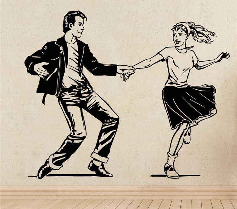 Dancing Couples Wall Stickers Vinyl Transfer Stencil Decal Sticker Wall Art Home Design Poster Vinilos Paredes Wallpaper