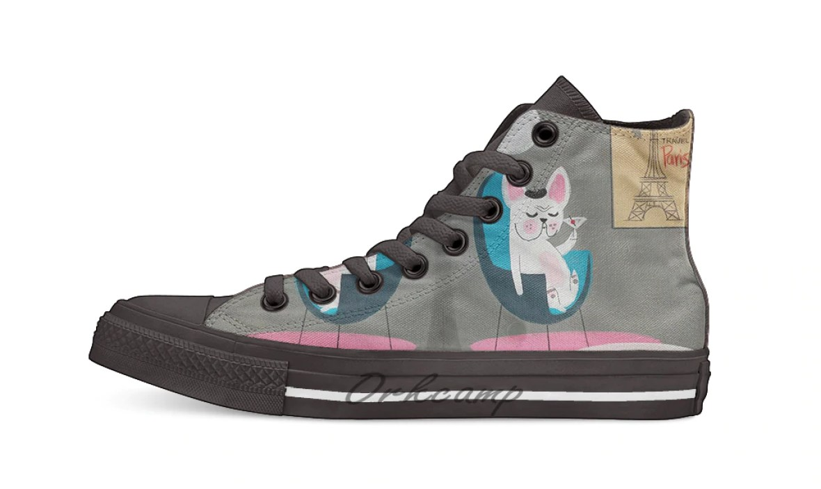 French Bulldog At Home   Design breathable Casual High Top lace-up Canvas shoes sneakers