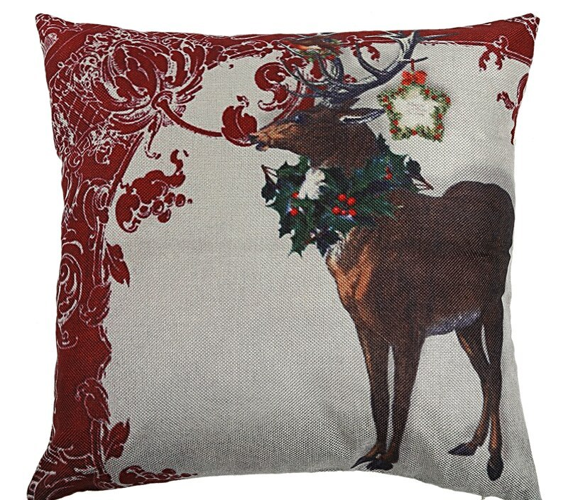 Christmas Snowman Reindeer Elk Flax Pillow Case 18 X 18 Inch Home Design Pillow Case