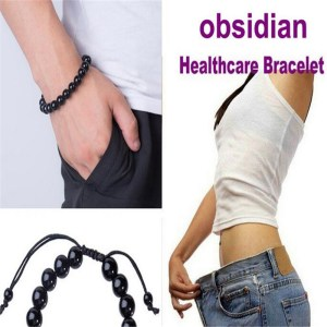 2Pcs/Lot Weight Loss Obsidian Bracelet For Magnet Health Slimming Unisex Bracelets Bangles Charm Weight Loss Obsidian Bracelets