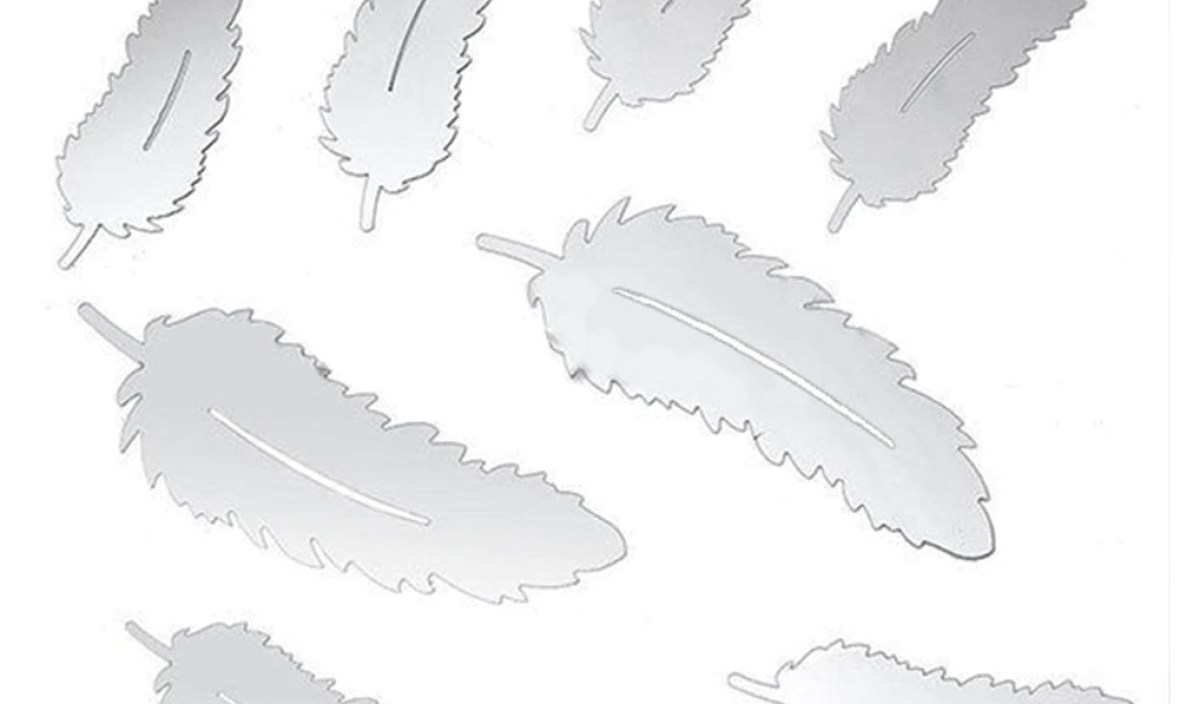 8pcs/set 3D Silver Feather Designed Mirror Wall Stickers Home DIY Acrylic Art Decal Hot Fashion