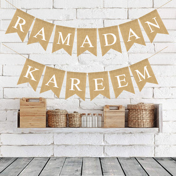 RAMADAN KAREEM Linen Swallowtail Flag Muslim Ramadan Decorative Banner Eid Mubarak Ramadan Home Decor Party Supplies