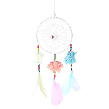 Home Design Handmade Dream Catcher Nordic With Flower Hollow Lace Feathers Wall Car Hanging Decoration Wind Chimes Dreamcatcher