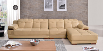 Free Shipping Home Design Living Room Sofa Set,  Made with Top Grain leather, L shaped Yellow Color Smart Sofa Set 2011
