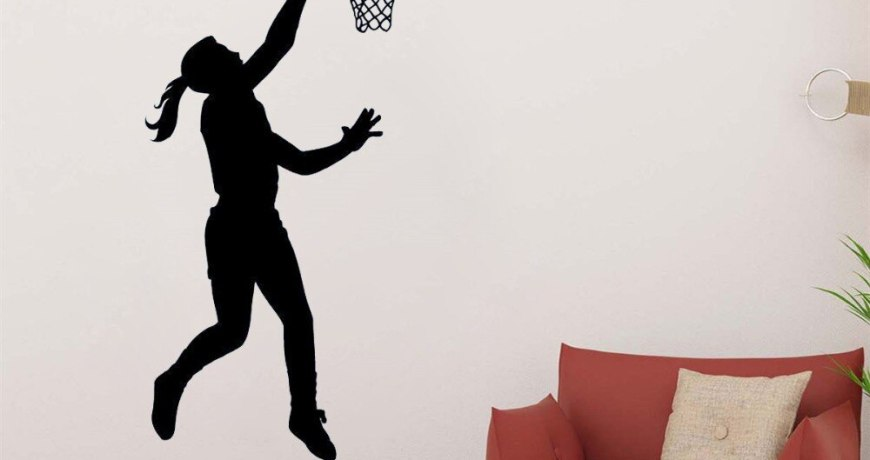 JOYRESIDE Basketball Decals Layup Vinyl Sports Interior Kids Girl Room Bedroom Living room Playroom Home Design Art Mural A1387