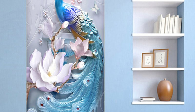 2 Pieces/Set Creative DIY 3D Wall Door Stickers Modern Creative Blue Peacock Wallpaper Living Room Study Home Design Door Decals