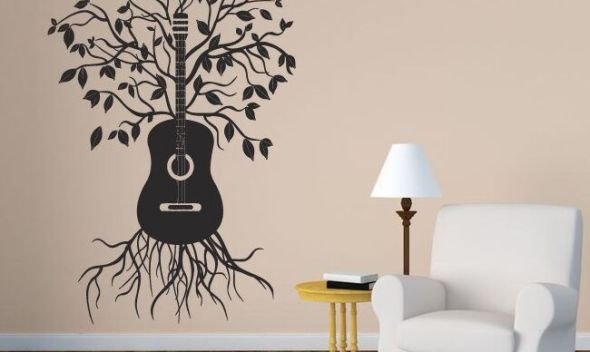 Music Melody Tree Wall Sticker Home Design Wall Art Mural Creative Guitar Tree Vinyl Wall Decal Musical Wall Vinyl Mural  AY1362
