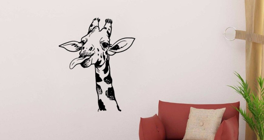 JOYRESIDE Giraffe Wall African Animal Decal Vinyl Stickers Interior Decor kids Living Room Home Design Decoration Art Mural A220