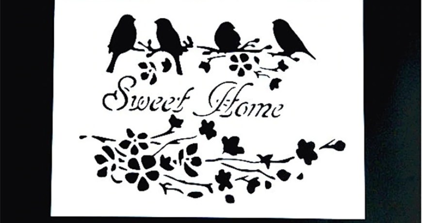 DIY Painting A4 Size Sweet Home Design Art Stencil emplate For Wall Painting Decorative Stamping Album Embossing Paper Card