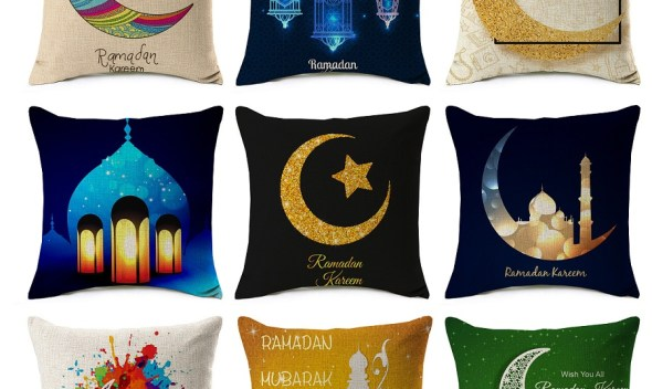 Ramadan Kareem Cushion Covers MUBARAK Moon Star Thin Linen Cotton Ramadan Decoration Pillow Cover 45X45cm