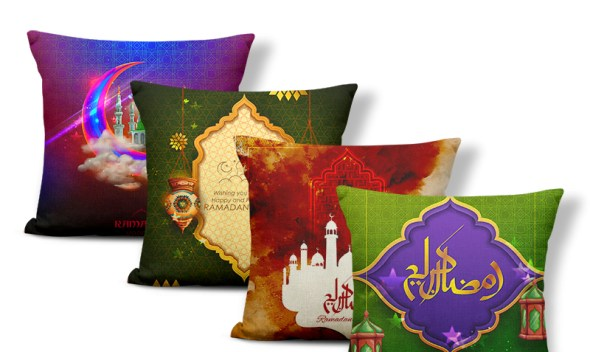 Ramadan Festival Personalized Moon Starry Sky Fire Burning Cloud Accent Pillow Ramadan Lantern Chicken Leg Rice Square Nap Mat