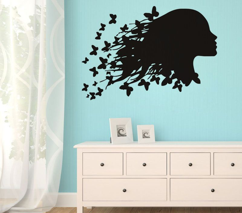 Girls Hair With Butterfly Wall Stickers Silhouette Barber Shop Beauty Salon Vinyl Wall Decal Home Design Wallpaper Mural SA462