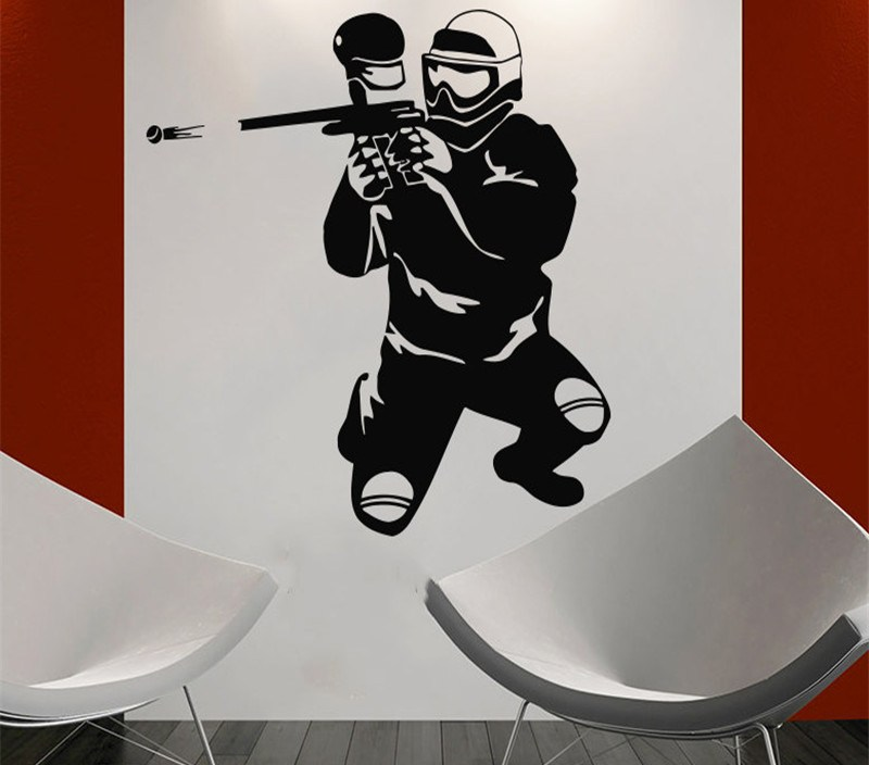 Paintball Player Silhouette Sport Wall Vinyl Decals Home Design Wall Decor Boys Bedroom Wall Art Poster Vinilos Paredes