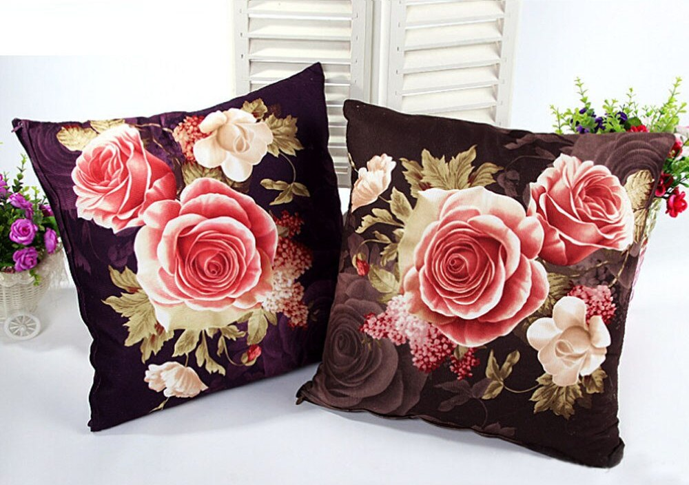 Printing Dyeing Peony pillowscase Bed Home warm cover Pillow Case pillowslip Cases Home Design soft Bed Square Retro flower F80