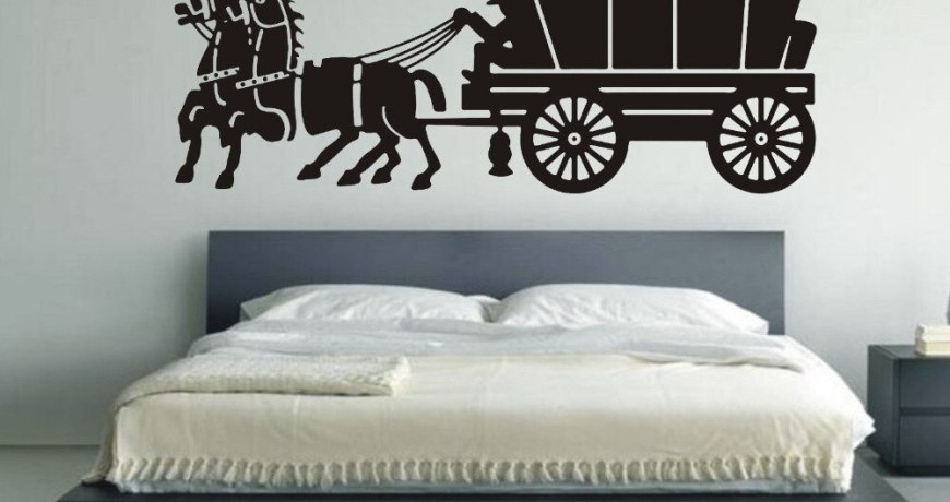 Wall Stickers Quotes Carriage Drawing Room Autocollant Mural Home Design Bedroom Decor Vintage Caballos Adesivo Sticker LA003