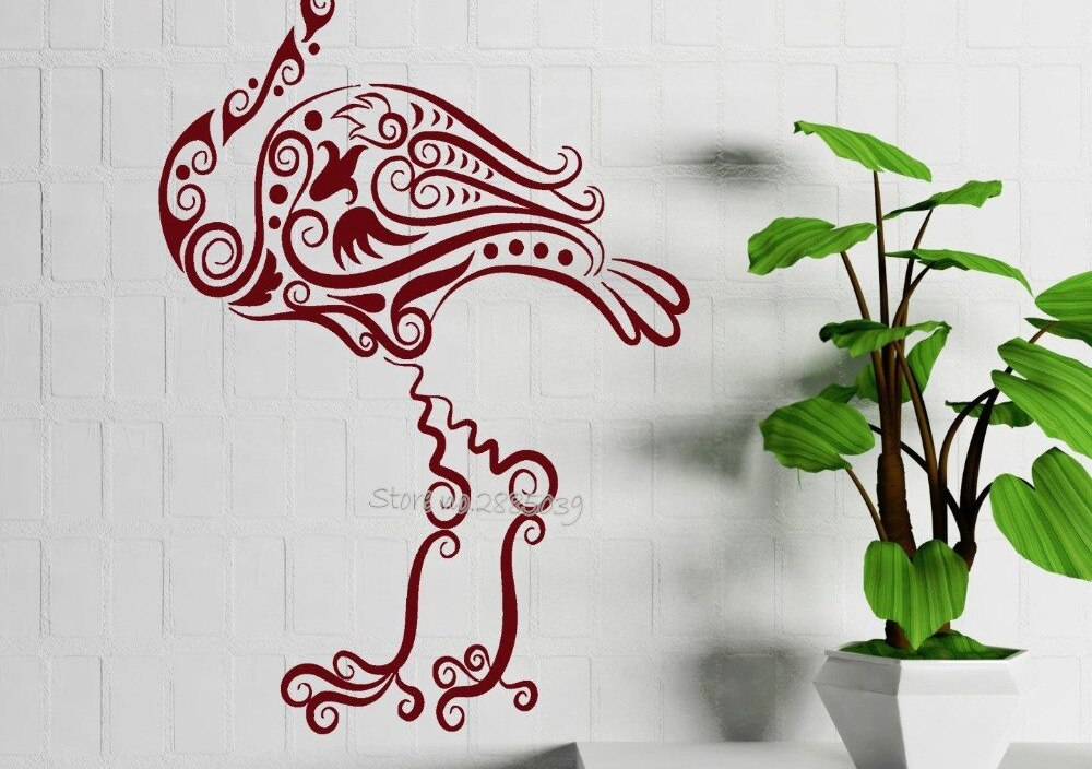 Beautiful Flamingo Bird Vinyl Wall Decal Animal Tribal Decor Wall Stickers Livingroom Wall Tattoo Mural Home Design Decals LA625