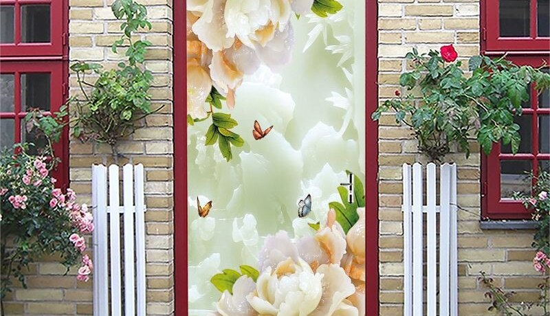 Pvc Sticker 3d Wallpaper Lotus Pattern Door Stickers Home Decoration Door Murals Home Design Murals Posters Wallpaper